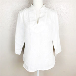 Cynthia Rowley White Linen Slit Neck Top Small